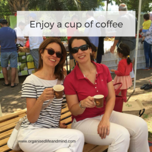 Enjoy a cup of coffee at farmers market
