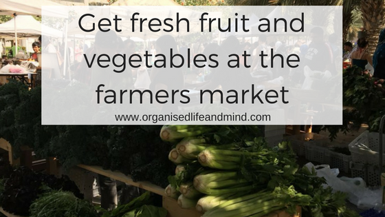 Get fresh fruit and vegetables at the farmers market