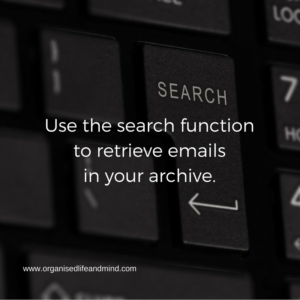 Use the search function to find emails in your inbox