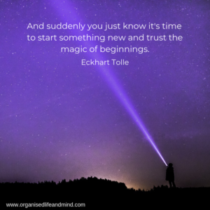 Saturday quote Eckhart Tolle Trust the magic beginnings
