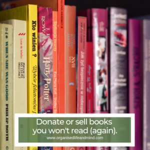 Donate sell books living room spring clean