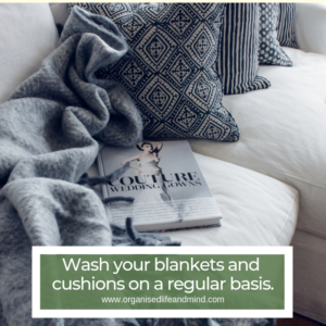 Wash blankets and cushions spring clean your living room
